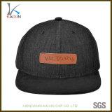 Atacado Black Plain Denim Hat Couro Patch Cowboy Snapback Cap