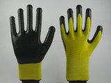 Покрынные нитрилом перчатки работы безопасности конструкции Зебр-Нашивки U203