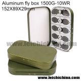 Compartimentos de alumínio por atacado da caixa 10 da mosca da caixa de pesca da mosca