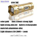 Tocha de alumínio da bateria recarregável do diodo emissor de luz que caça a lanterna elétrica tática da cabeça do CREE
