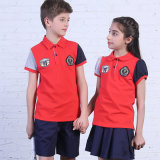 Custom New Design Uniforme scolaire Polo Shirt of Red Colors