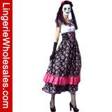 Испанская повелительница день мертвого Costume платья Cosplay вычуры партии Halloween для женщин