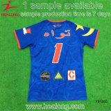La vente en gros a entièrement sublimé la couleur bleue n'importe quel jeu de rugby de chemise de logo d'équipe