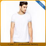 Tricot court blanc de collet d'épuisette de chemise de plaine du coton des hommes