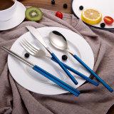 Jeux de couverts d'acier inoxydable avec la fourche de cuillère et la vaisselle plate bon marché de Spork en métal de fabrication de Kinfe