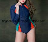 Grande Swimsuit para mulheres, desgaste longo do tamanho da natação da luva do Mais-Tamanho