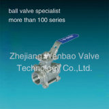 Fileté bride 3PC Ball Valve CF8M 1000 Wog