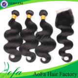 結び目によって漂白されるブラジルの毛の加工されていないバージンの毛の絹の基礎閉鎖