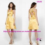 Reizend weiches Abend-Braut-Goldrutenkleid mit V-Stutzen