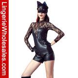 여자를 위한 섹시한 긴 소매 꽃 레이스 그리고 가죽 짧은 장난꾸러기 고양이 복장