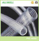 Tuyauterie industrielle hydraulique de boyau de pipe de l'eau en plastique de fil d'acier de PVC