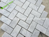 Mosaico di marmo bianco Herringbone Polished di Carrara