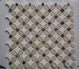 Cream плитка мозаики мрамора формы цветка Marfil