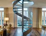 Projeto espiral de vidro popular moderno da HOME da escadaria/escadaria espiral com vidro