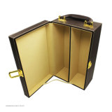 Коробка вина PU оптовой роскоши кожаный портативная упаковывая для подарка