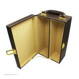 Atacado Luxury PU Leather Portable Packaging Wine Box para presente