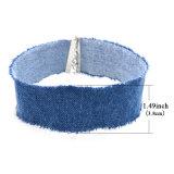 Colar azul do Choker das calças de brim da sarja de Nimes da jóia simples da forma