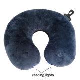 Cuscino di vibrazione a pile elettrico di massaggio della gomma piuma di memoria di figura del collo U del cuscino/corsa di massaggio del collo della lettura del LED