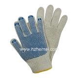 Guanto lavorato a maglia del lavoro di sicurezza dei guanti punteggiato PVC di Polycotton