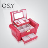 卸し売り贅沢なPUの革カスタム木の宝石類の化粧品ボックス