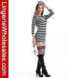 Keyhold Wärme-Form Heartbreaker der Frauen gestreiftes Convict-Kleid-Schwarzweiss-Kostüm