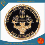 Moeda de ouro feita sob encomenda da concessão da lembrança do desafio do esmalte do selo da promoção