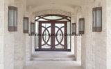 Porta de entrada decorativa do dobro do ferro feito de projeto moderno