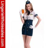 Het blauwe en Witte Kostuum van de Kleding van de Stewardess van de Dienst van de Ritssluiting VoorHalslijn Verwijderde Mini