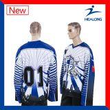 Faire le plus tard votre propre habillement fait sur commande de pulls molletonnés de chemise de Jersey d'hockey