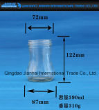 Frasco do atolamento do frasco de vidro de produto comestível com teste padrão