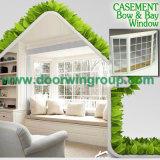 Ventana por completo dividida blanca de la especialidad del color, roble sólido del estilo europeo/ventana de madera de aluminio de la teca/del pino