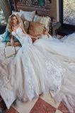 Branco elegante do estilo novo uma linha vestido Strapless do trem da capela do comprimento do assoalho da cintura do império da parte traseira do ponto baixo para o casamento civil (MN1249)