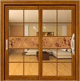 Portello scorrevole di vetro di alluminio Finished di grande colore di legno di disegno doppio