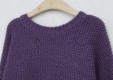 Ladys'fashion reine Farben-Hieb-Hülsen-runder Stutzen-Strickjacke