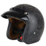 Weinlese-Typ Motorrad-Leder-geöffneter Gesichts-Sturzhelm PUNKT bescheinigt