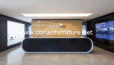 Black Color Corian Solid Surface Bureau moderne de réception