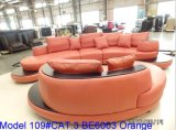 Sofà moderno del salone con il sofà d'angolo di cuoio del cuoio genuino del sofà