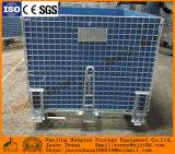 Stackable и складывая стальная сверхмощная корзина ячеистой сети для хранения пакгауза