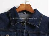 Голубое пальто `s Jean женщин короткое