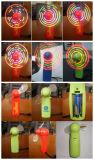 El OEM eléctrico de mano portable del ventilador del plástico LED del mensaje del mini de la talla verano con pilas del ventilador es