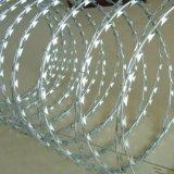 有刺鉄線か電流を通されたかみそりの有刺鉄線