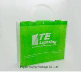 Grün-nicht gesponnene Einkaufstasche mit kundenspezifischem Drucken
