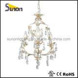 Lustres cinza ferro forjado lustre Floral iluminação de cristal