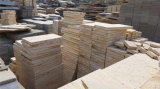 China-Sandstein, der preiswerten natürlichen hölzernen gelben Sandstein pflastert