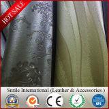 Décorer le cuir synthétique de PVC pour le cuir artificiel de vente en gros de meubles