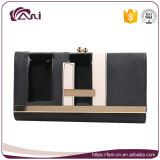 Черный бумажник карточки повелительниц, бумажник карточки PU рамки металла кожаный для женщин