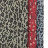 Tres colores de leopardo de impresión Jacquard lana de tela de archivo