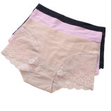 Sexy Lace Anti-Bacterial Silver Fiber Nylon Underwear para Mulheres