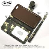 Caixa de couro do plutônio da tira do pulso do cartão do carrinho camuflar de Shs para o iPhone 7
