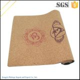 Esteira feita sob encomenda natural da ioga da cortiça com o saco da esteira da ioga